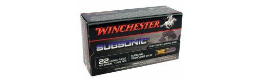 Cartouche winchester Subsonic Tête Plomb tronquée 22LR