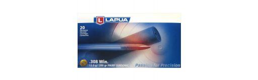 cartouches à balle Lapua 308 Win FMJBT Subsonic 200 gr
